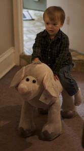 Riding his new elephant.