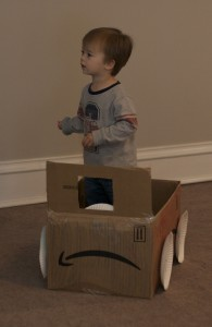 Brenden had been enjoying playing in this box, so we turned it into a car.