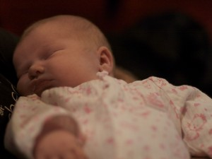 Finally a closer look at her face–Even if there is a little spit up!