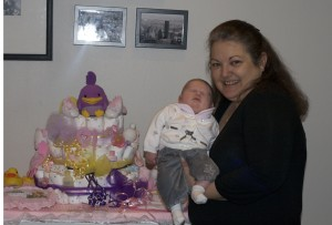 Linda and a friend made this wonderful diaper cake that has kept us all looking to see what new things we can find hidden in it!
