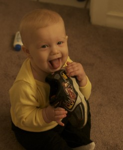 She loves to eat Brenden's shoe.